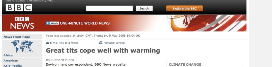 A headline picture from the BBC website