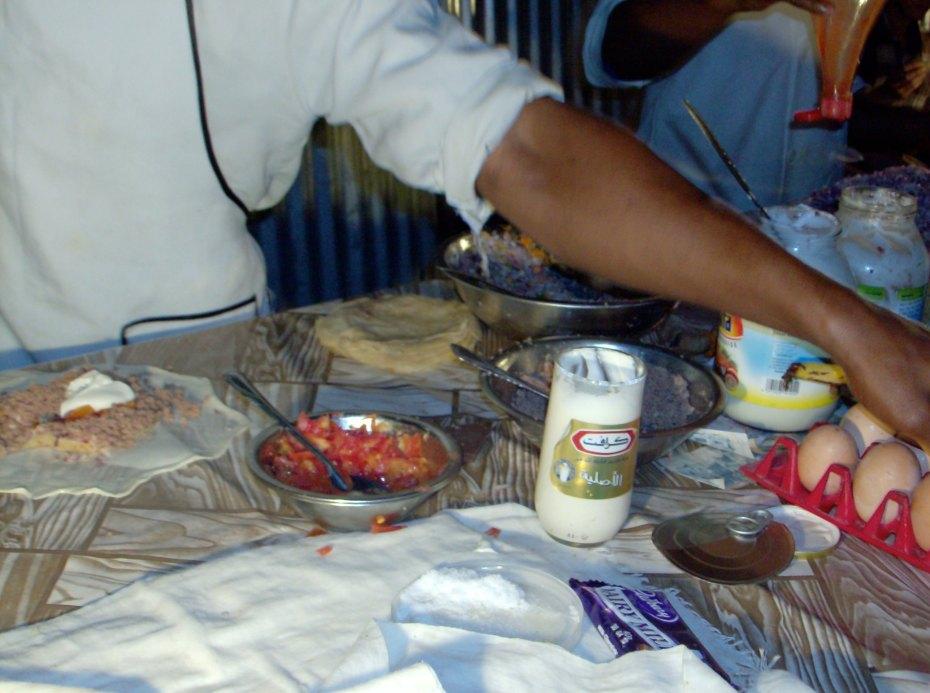 Zanzibari pizza being prepared